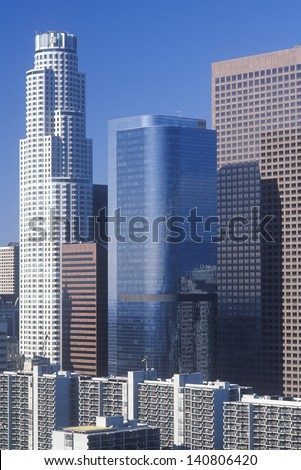 New Los Angeles skyline viewed from City Hall, Los Angeles, California - stock photo