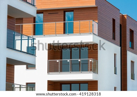 new luxury apartment balcony - stock photo