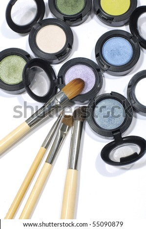 new makeup set isolated - stock photo
