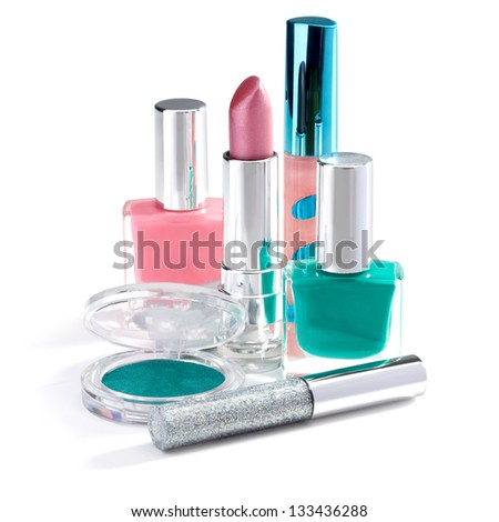 new makeup set isolated on white background. clipping path