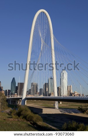 New Margaret Hunt Hill Bridge crossing Trinity River in Dallas, Texas. The bridge unique design of a 400-foot steel arch and cables to support  the bridge. The bridge will open in 2012.