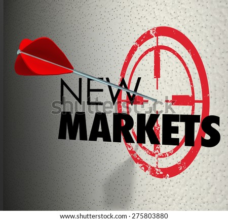 New Market word on a wall and arrow hitting the target to illustrate business growth to expanded areas to increase sales and marketing share - stock photo