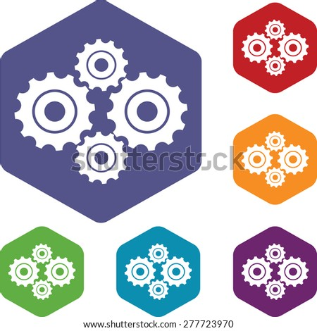 New mechanism rhombus icons set in different colors - stock photo