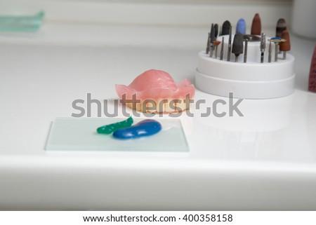 New medical denture smile white white teeth  - stock photo