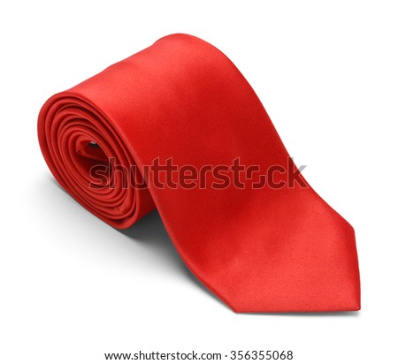 New Mens Red Necktie Rolled Up Isolated on a White Background.