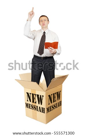 New messiah leaps out from the cardboard box and speaks. Isolated over white