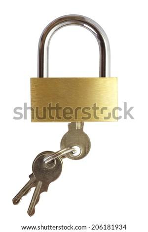 New metal padlock isolated on white background  - stock photo