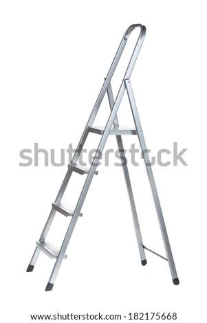 New Metallic Step Ladder isolated on white - stock photo