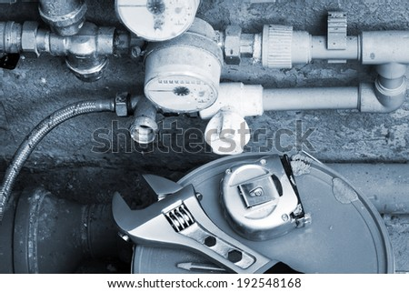 new meters for water in the bathroom - stock photo