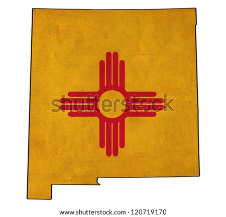 New Mexico map on New Mexico flag drawing ,grunge and retro flag series - stock photo