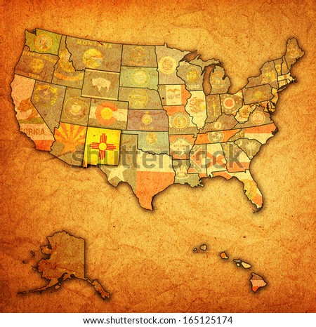 new mexico on old vintage map of usa with state borders - stock photo