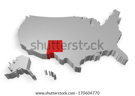 New Mexico state on Map of USA 3d model on white background