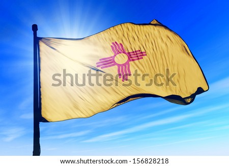 New Mexico (USA) flag waving on the wind - stock photo