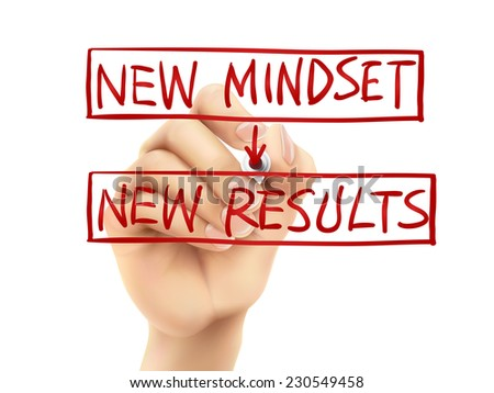 new mindset for new results words written by hand on a transparent board - stock photo