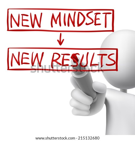 new mindset to new results written by 3d man over white  - stock photo