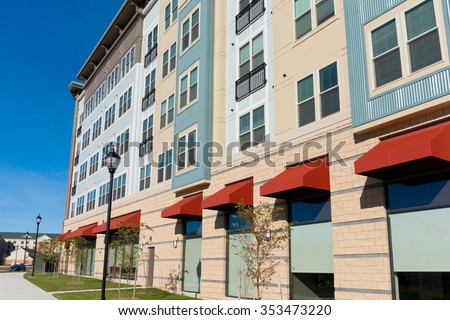 New mixed use building exterior - stock photo