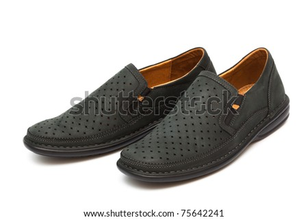 new moccasins on a white background - stock photo