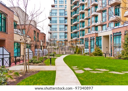 New modern apartments with gorgeous outdoor landscape in Vancouver, Canada. - stock photo