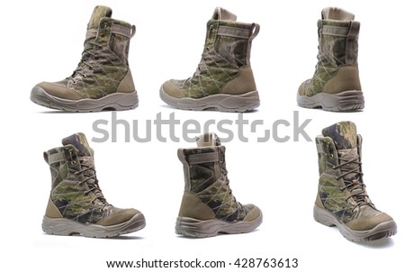 New modern army boots with camouflage print isolated on a white background/Modern army boots.Collage