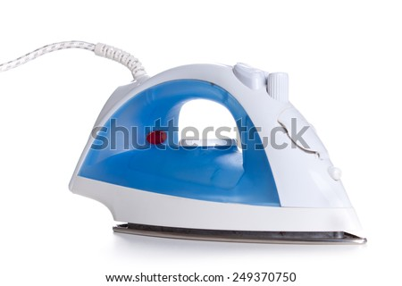 new modern blue irons shot on a white background - stock photo