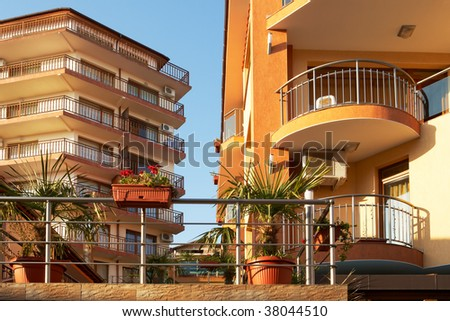 New modern buildings, hotels and guets houses in Sveti Vlas, Bulgaria