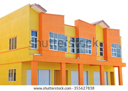 New modern built 2 storey shophouse  ready for rent isolated on white.