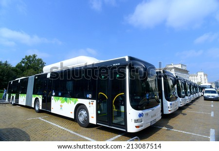 New modern city bus in Sofia, Bulgaria August 26, 2014