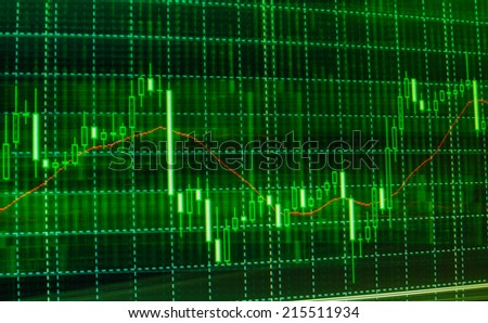 New modern computer and business strategy as concept. Financial diagram with candlestick chart used in market analysis for variation report of share price Stock market chart, graph on green background - stock photo