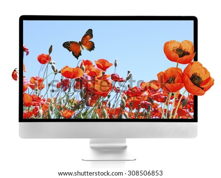 New modern computer with nature wallpaper on screens isolated on white