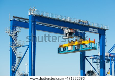 new modern gantry crane in container terminal seaport