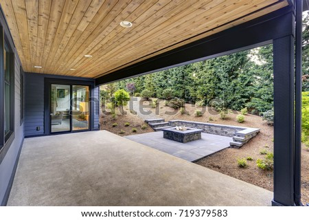 New Modern Home Features Backyard Covered Stock Photo (Royalty Free ...