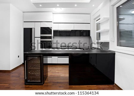 New modern kitchen in black and white colors