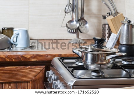 New modern kitchen in the apartment. - stock photo