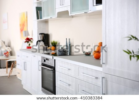 New modern kitchen interior - stock photo