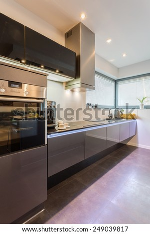 New modern kitchen with marble floor