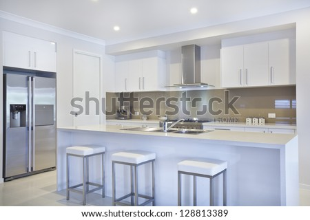 New modern kitchen with stainless steel appliances