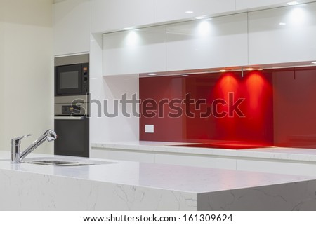 New modern minimalistic kitchen - stock photo