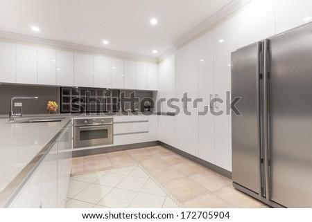 New modern minimalistic kitchen interior - stock photo