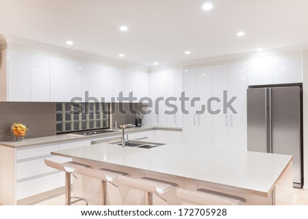 New modern minimalistic kitchen interior - stock photo