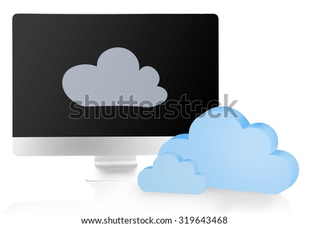 New modern PC with clouds. Cloud computing concept - stock photo