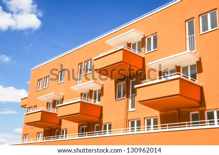 new modern plattenbau in vienna - stock photo