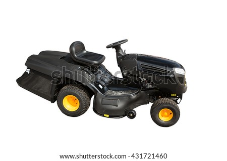 New modern ride on lawn tarctor isolated on white background - stock photo