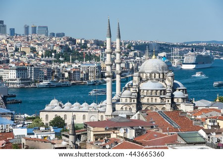New Mosque in the Eminonu district in the city of Istanbul, Turkey - stock photo