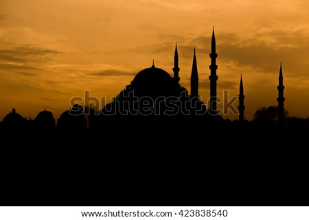 new mosque silhouette background