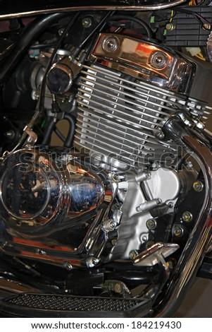 New Motorcycle engine. - stock photo