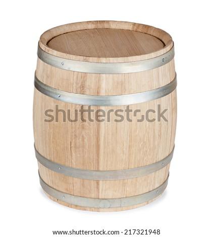 New oak wooden barrel, isolated on white background - stock photo