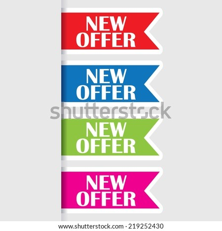 New offer sign,icon, tag, label and sticker. New offer award symbol.  - stock photo