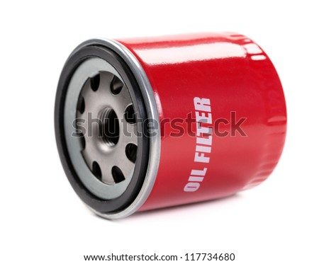 New oil filter car in red steel case. Isolate on white. - stock photo