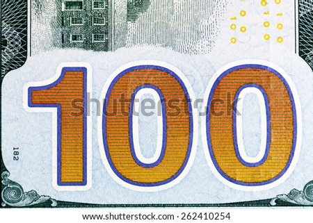 New one hundred dollar bill close-up shot. - stock photo