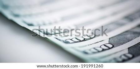 new one Hundred Dollar Bills (shallow DOF)  - stock photo